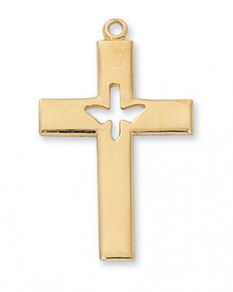 18K Gold Plated Silver Dove Cross Pendant