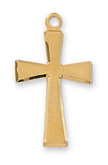 18K Gold Plated Silver Beveled Cross Pendant