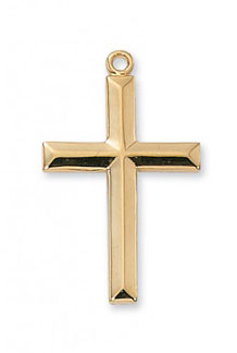Beveled Cross Pendant, 18K Gold Plated Silver
