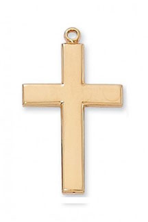 Beveled Cross Pendant, 18K Gold Plated Sterling Silver
