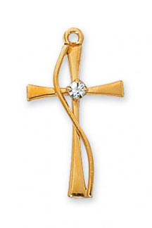 CZ Accent Methodist Cross Pendant in 18K Gold Plated Silver