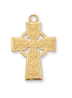 18K Gold Plated Silver Celtic Cross Pendant