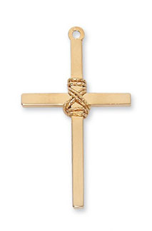 18K Gold Plated Silver Rope Cross Pendant