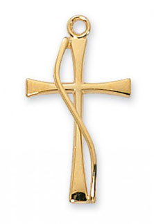 18K Gold Plated Silver Methodist Cross