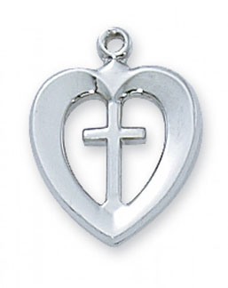 Heart Cross Pendant, Sterling Silver
