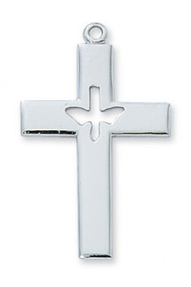 Dove Cross Pendant in Sterling Silver