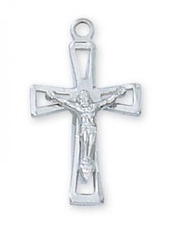 Modern Crucifix Pendant, Sterling Silver