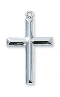 Beveled Cross Pendant in Sterling Silver