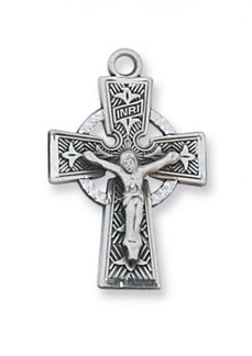 Celtic Crucifix Pendant, Sterling Silver
