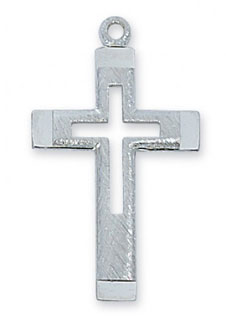Sterling Silver Cut Out Cross Pendant