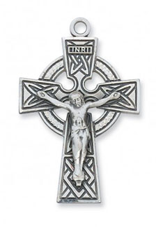 Celtic Knot Crucifix Pendant, Sterling Silver