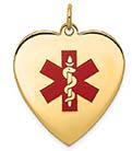 14K Gold Heart Medical ID Necklace with Red Enamel Medical Alert