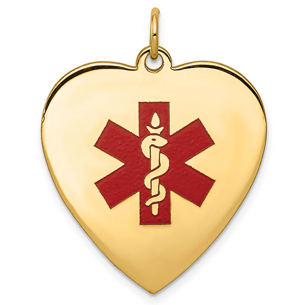 14K Gold Heart Medical ID Necklace with Red Enamel Medical Alert