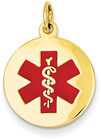 14K Gold Medical ID Alert Necklace with Red Enamel (5/8