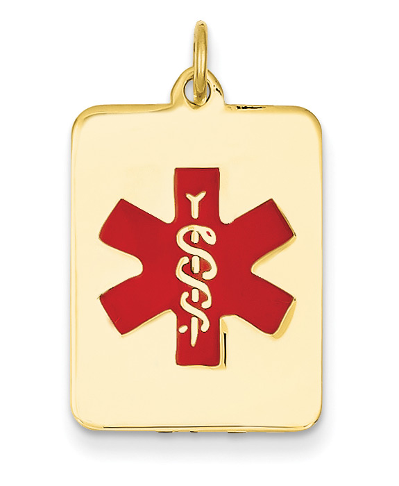 14K Gold Rectangular Medical Alert ID Necklace with Red Enamel