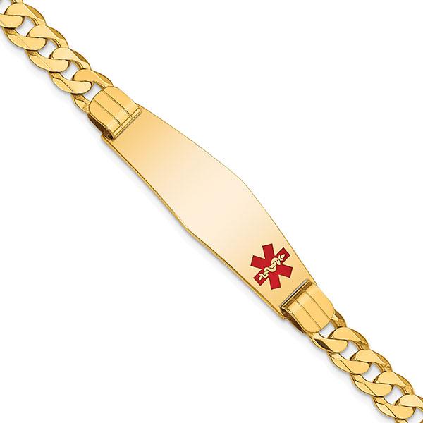 14K Solid Gold Men's Medical Alert ID Curb Bracelets