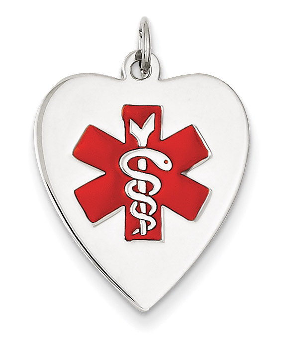 14K White Gold Heart Medical ID Necklace with Red Enamel