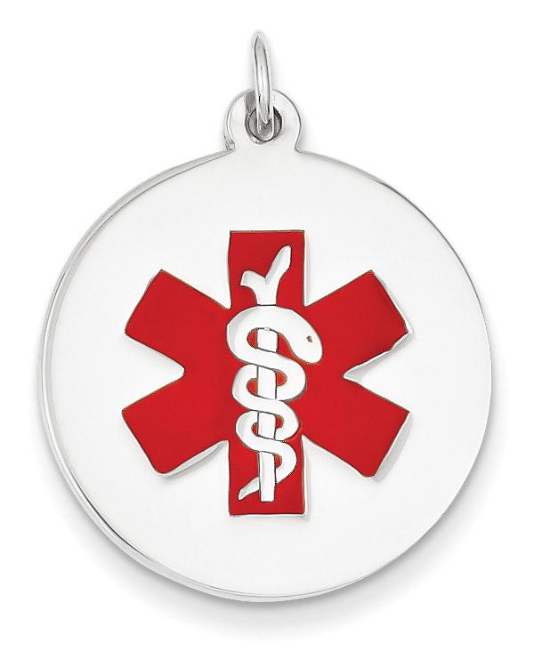 14K White Gold Round Medical ID Pendant