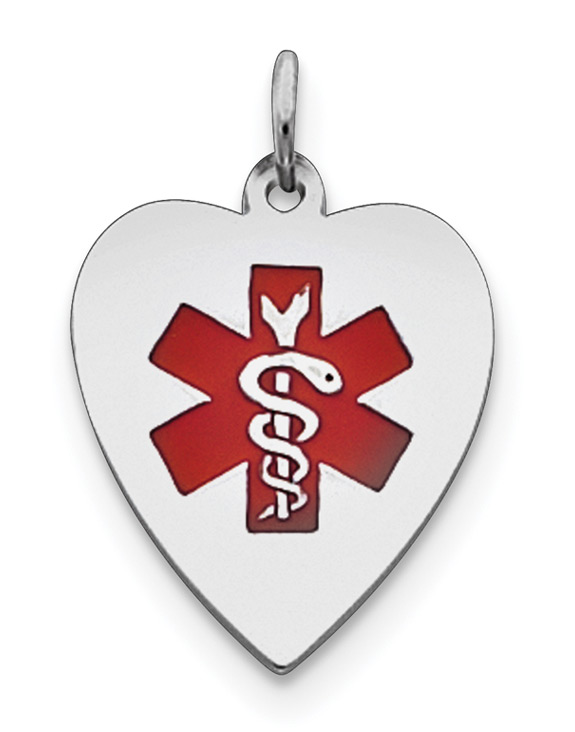 Heart Medical ID Pendant Necklace in Sterling Silver