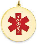 Large 14K Gold Medical ID Pendant Necklace with Red Enamel Medical Alert