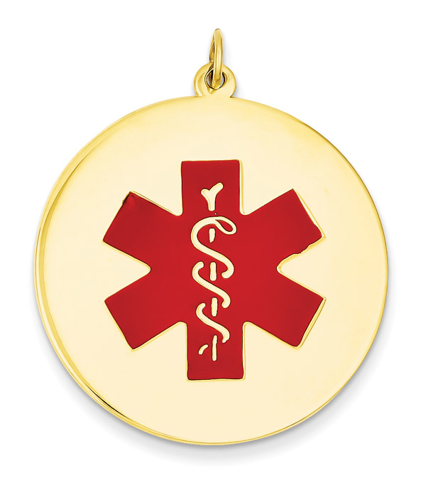 Large 14K Gold Medical ID Pendant Necklace with Red Enamel Medical Alert