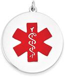 Large 14K White Gold Medical ID Pendant Necklace