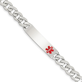 Men's Curb Medical ID Bracelet with Medical Alert, Sterling Silver