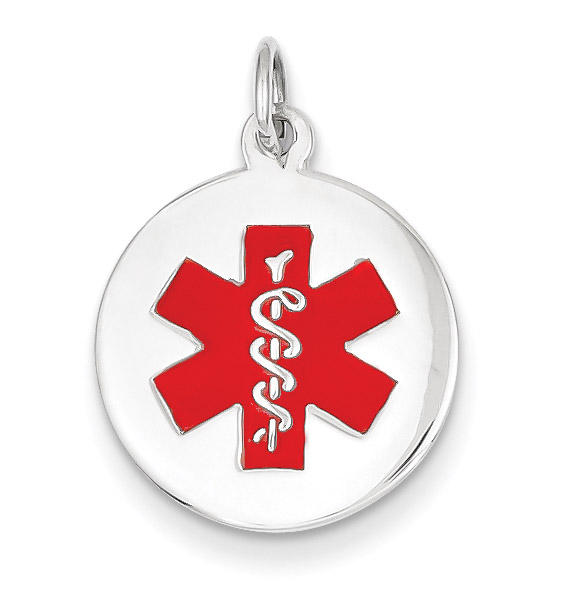 Small 14K White Gold Medical ID Necklace