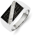 1/2 Carat Men's Black and White Diamond Ring