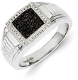 Men's Black and White Diamond Ring