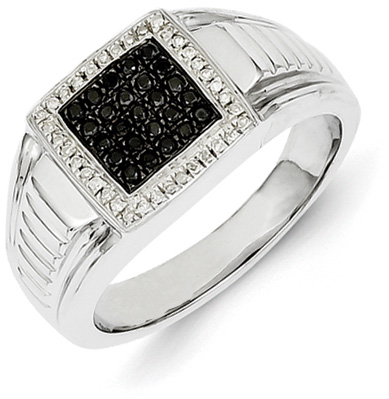 Men's Black and White Diamond Ring