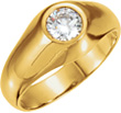 Men's White Topaz Solitaire Gemstone Ring in 14K Gold