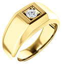 1/4 Carat Men's Diamond Solitaire Ring, 14K Gold