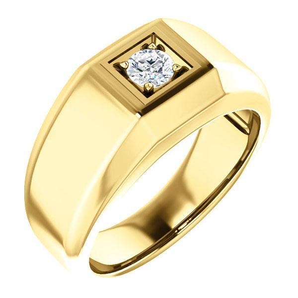 1/4 Carat Men's Diamond Solitaire Ring, 14K Gold