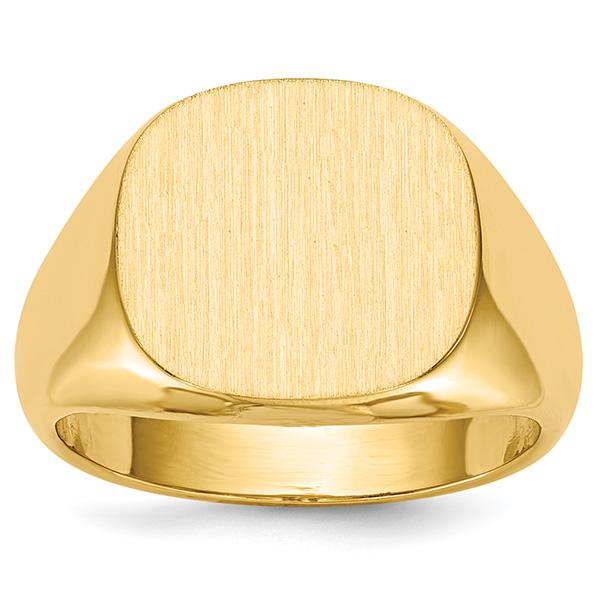 14K Gold Men's Large Engravable Signet Ring