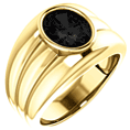 14K Gold Men's Oval Onyx Ring