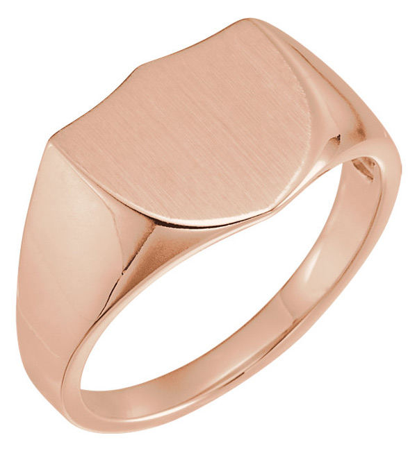 14K Rose Gold Men's Shield Signet Ring