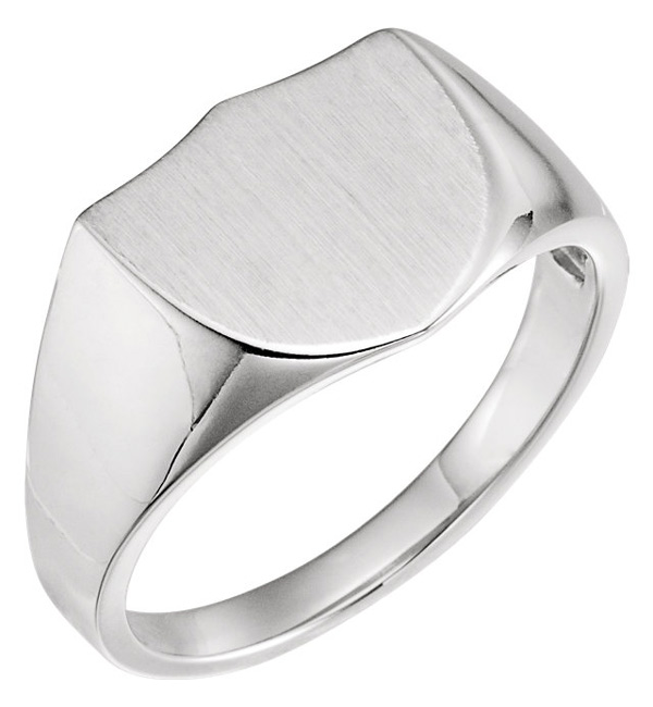 Engravable Shield Signet Ring for Men, 14K White Gold