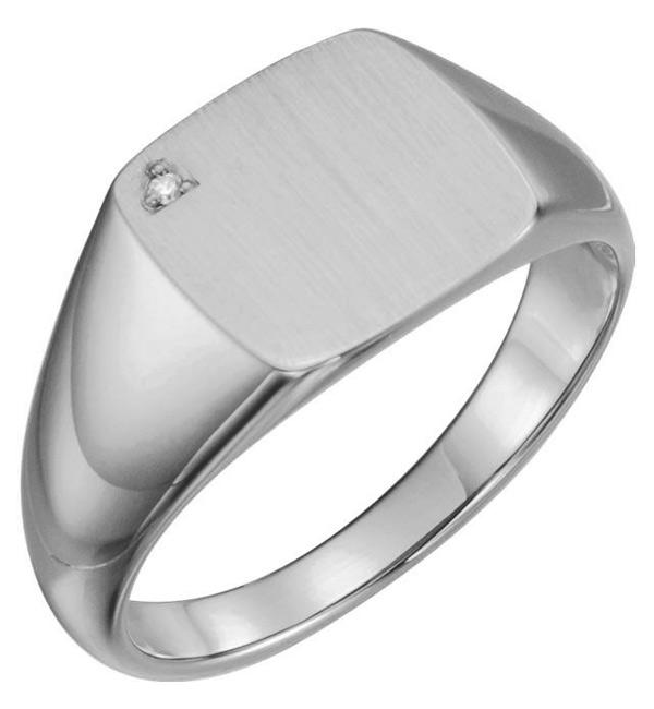 14K White Gold Men's Engravable Diamond Signet Ring