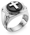 14K White Gold Onyx Cross Ring for Men