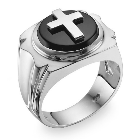 Sterling Silver Men's Black Onyx Cross Ring