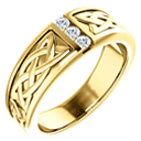 3-Stone Diamond Celtic Ring for Men, 14K Yellow Gold