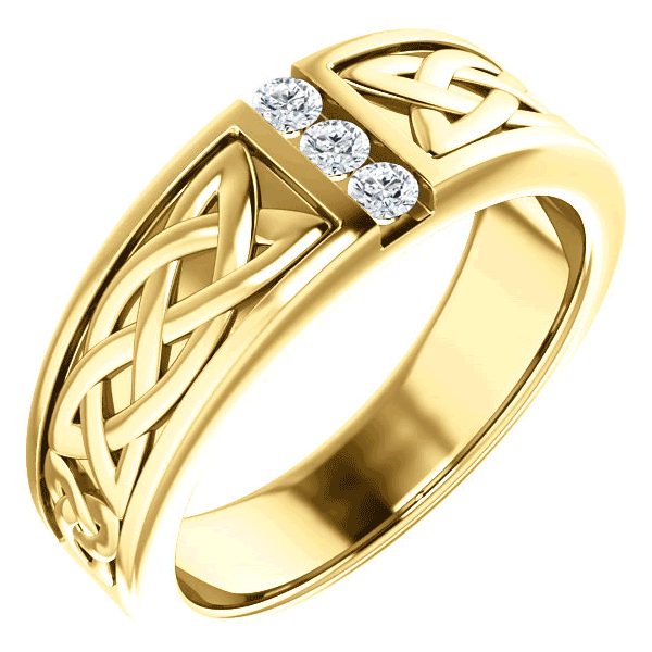 3-Stone Diamond Celtic Ring for Men, 14K Yellow Gold