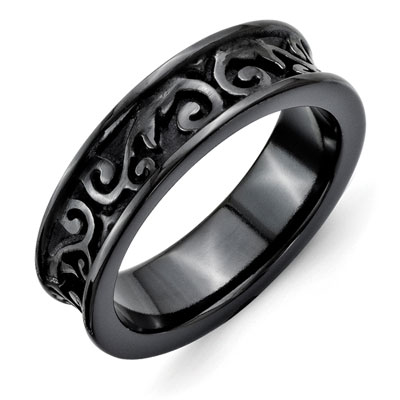 5.5mm Black Titanium Filigree Wedding Band
