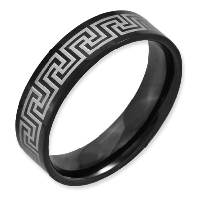 6mm Greek Key Black Titanium Laser Engraved Band