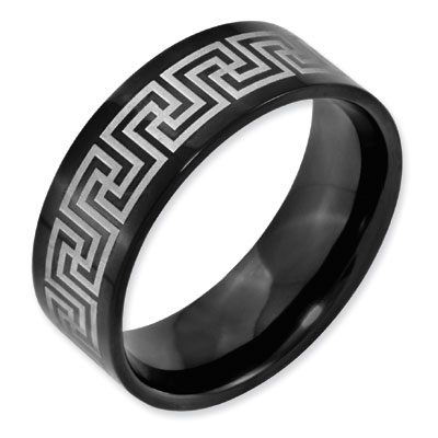 8mm Greek Key Black Titanium Laser Etched Ring