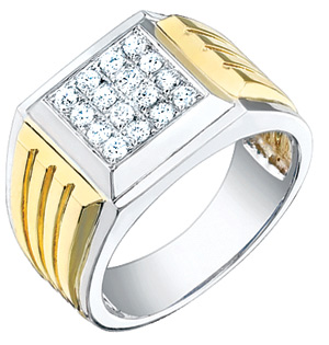 1/2 Carat Men's Ridged Diamond Ring, 14K Two-Tone Gold