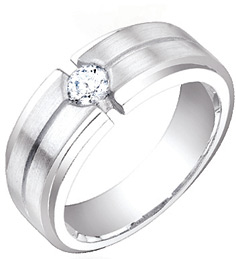 0.35 Carat Men's Solitaire Diamond Band in 14K White Gold