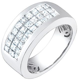 2.30 Carat Men's Square Princess Cut Diamond Ring