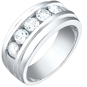 1 1/2 Carat Men's 5 Stone Diamond Ring